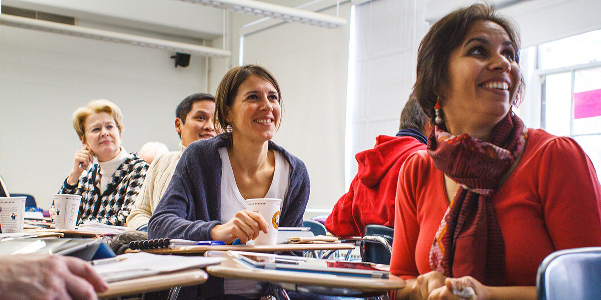 Adult students in a classroom
