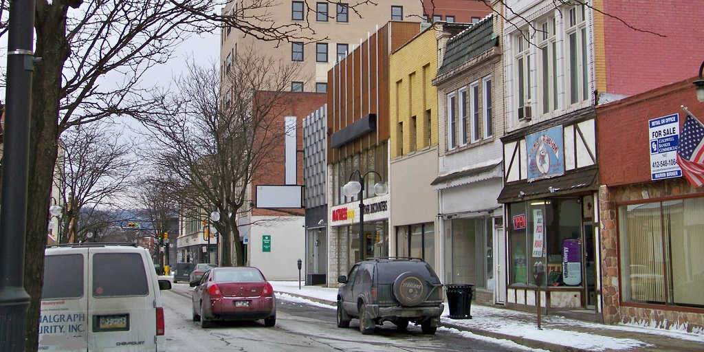 Street view of New Kensington, PA. Cropped from an original photo by Jon Dawson (CC BY-ND 2.0).