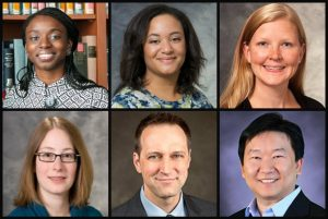 Portrait collage (left to right, top to bottom) of Olufunmilola Abraham, Andrea Gilmore-Bykovskyi, Kara Hoppe, Jennifer Weiss, Ryan Westergaard, Yang Sao Xiong