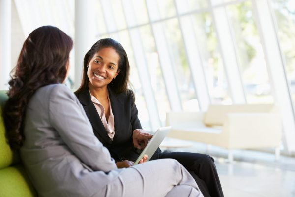 business discussion between two females